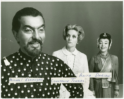 The King and I, 1968 revival. From left: Michael Kermoyan as the King, Constance Towers as Anna, and Anita Darian as Lady Thiang. Photo by Friedman-Abeles; from The New York Public Library Digital Collection.